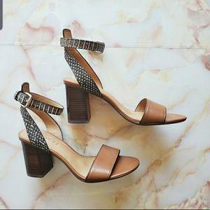 Coach Paige Python Print Leather Block Heels 7